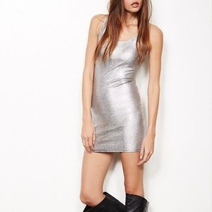 Silver Metallic Bodycon Dress